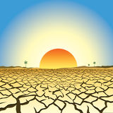 Illustration of global warming. Including, soil cracked by drought, desert with a few remaining palm trees and a hot yellow and orange rising sun with halo vector illustration