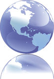 Illustration of globe. An illustration of a blue globe with a reflection stock illustration