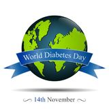 Globe and reminder date of world diabetes day Stock Images