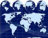 Illustration of globes with world map Royalty Free Stock Photo