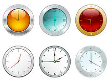 Illustration of glossy clocks. In different stylish appearances Stock Photography