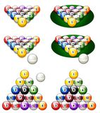 Illustration of a glossy set of pool balls Stock Photos
