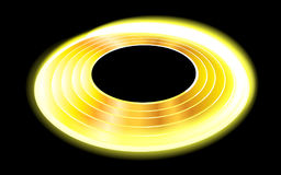 Illustration of a glowing golden disk on a black background Stock Images