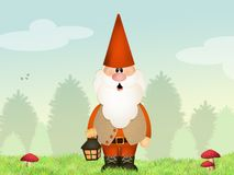 Gnome with lantern Royalty Free Stock Photo