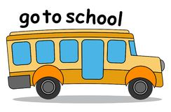 Go to school cartoon bus Stock Photo