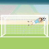 Soccer goalie save. Illustration of a goal keeper saving a soccer ball on a possible goal Stock Images