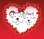 Illustration of goat couple inside small hearts forming a bigger heart shape Stock Images