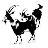 Illustration of the goat. The goat of the Japanese traditional painting Stock Photo