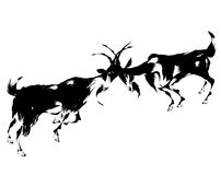 Illustration of the goat. The goat of the Japanese traditional painting Royalty Free Stock Images