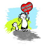 God wonts our love. Illustration God wants our love. Mother goes with her daughter and carries a ball heart Stock Images