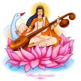 Goddess of Wisdom Saraswati for Vasant Panchami India festival background. Illustration of Goddess of Wisdom Saraswati for Vasant Panchami India festival Royalty Free Stock Photo