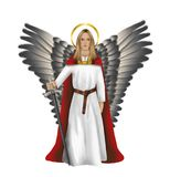 Archangel Michael who fights against evil. Illustration of Gods hero archangel Michael with his sword in his hand. Ready to fight against all evil.On a white Royalty Free Stock Photography
