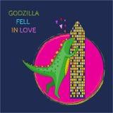Illustration of Godzilla fell in love. Vector illustration of Godzilla fell in love stock illustration