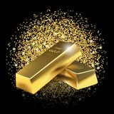 Gold bars on glitter dust background. Royalty Free Stock Image