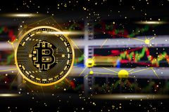 Illustration of gold bitcoin coin with stock trade graph background in concept money trade price.  Stock Images