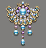 Illustration gold brooch with pearls and precious stones. Filigree victorian jewellery Stock Image