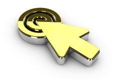Illustration of gold click symbol on white background Royalty Free Stock Image