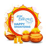 Gold coin in pot for Dhanteras celebration on Happy Dussehra  Stock Photos