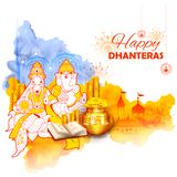 Gold coin in pot for Dhanteras celebration on Happy Dussehra light festival of India background stock illustration