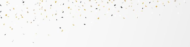 Gold confetti banner. Illustration of Gold confetti banner isolated on white background Stock Photo