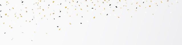Gold confetti banner vector illustration