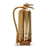 Illustration of a gold fire extinguisher. High resolution 3d Royalty Free Stock Photography