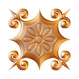 Illustration of a gold floral patterns for jewelry on isolated white background. Royalty Free Stock Images