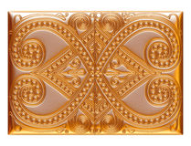 Illustration of a gold floral patterns for jewelry on isolated white background. Royalty Free Stock Image