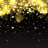Illustration with gold glitter hearts on a dark background Stock Image