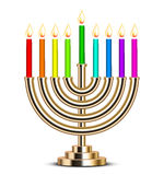 Illustration of gold Hanukkah menorah Royalty Free Stock Images