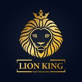 Gold lion king head mascot on black background Stock Image
