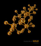 Illustration, Gold Molecule isolated black background Stock Photography