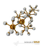 Illustration, Gold Molecule isolated white background Stock Photo