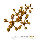 Illustration, Gold Molecule isolated white background Royalty Free Stock Photography