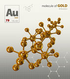 Illustration of Gold Molecule isolated white background Stock Images