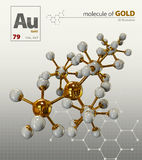 Illustration of Gold Molecule isolated white background Stock Photography