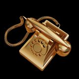 Illustration of a Gold retro phone. High resolution 3d Royalty Free Stock Image