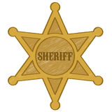 Sheriff star badge vector. Vector illustration of a gold Sheriff star on white background Stock Photography