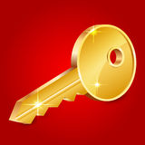 Illustration of gold shiny key on red background Royalty Free Stock Images