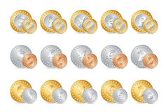 illustration of gold, silver and bronze coins Stock Photo