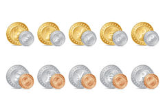 illustration of gold, silver and bronze coins Stock Image
