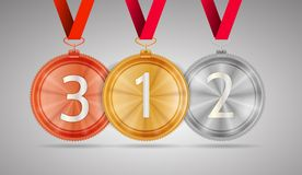 Illustration of gold, silver and bronze medal. Set of shiny gold first place, silver second place and bronze third place circle medals with white number 1, 2 and Royalty Free Stock Images