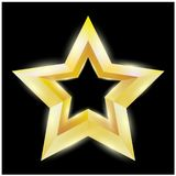 Illustration of a Gold star on black background. EPS 10 vector file included. For banner or illustrator stock illustration