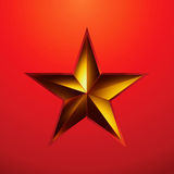 Illustration of a Gold star on red. EPS 8 Stock Image