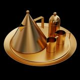 Illustration of a gold tea service. High resolution 3d Royalty Free Stock Images