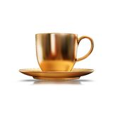 Illustration of a Gold teacup. High resolution 3d Royalty Free Stock Photos