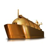 Illustration of a Gold toy big ship. High resolution 3d Stock Image