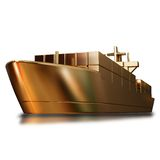 Illustration of a Gold toy big ship. High resolution 3d Stock Photos
