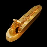 Illustration of a Gold toy big ship. High resolution 3d Royalty Free Stock Photos