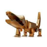 Illustration of a Gold toy crocodile. High resolution 3d Royalty Free Stock Image